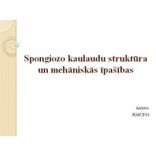 Biomehānika, prezentācija, Spongiozo kaulaudu struktūra un mehāniskās īpašības.