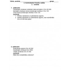 2. Kontroldarbs Finanšu vadība, 2. variants