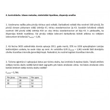 4. kontroldarbs. Izlases metodes, statistiskās hipotēzes, dispersiju analīze